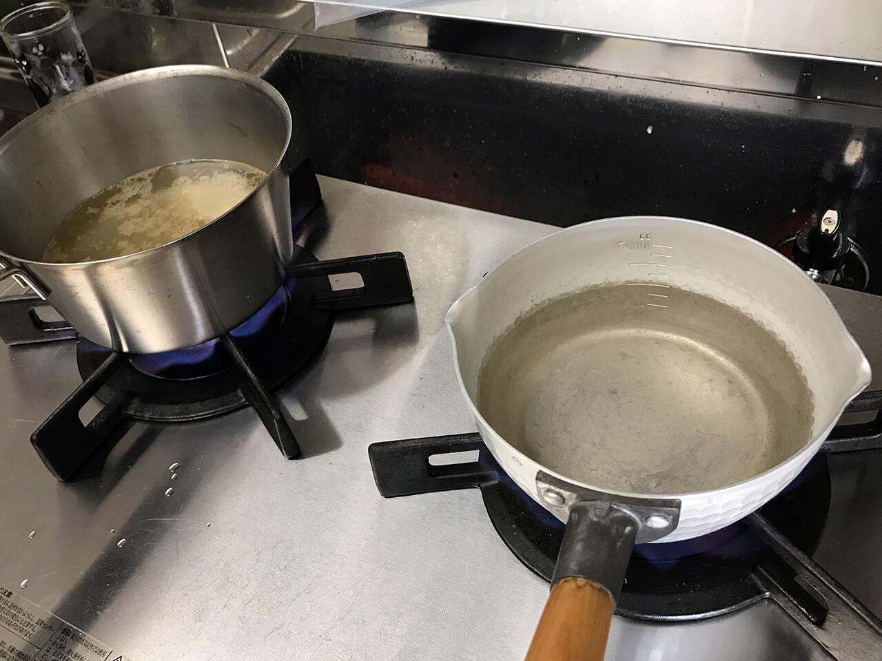 3.別の鍋にお湯を沸かす。