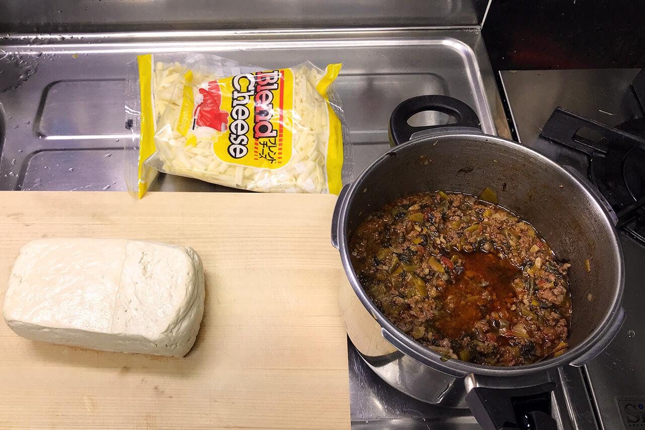 ミートソースを使った島豆腐のミートドリア 材料